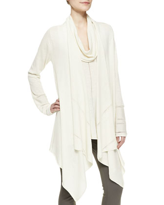 Long-Sleeve Draped Waterfall Wool Cardigan