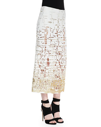 V-Neck Pullover Top & Embroidered Cutout Skirt