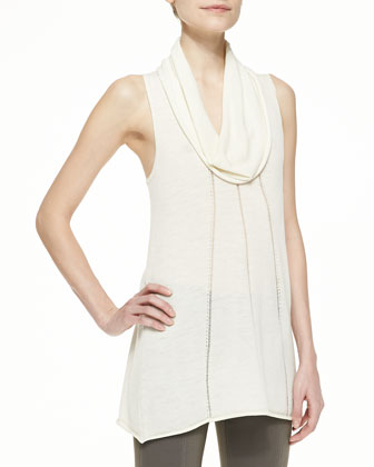 Long-Sleeve Draped Waterfall Wool Cardigan & Sleeveless Cowl-Neck Top