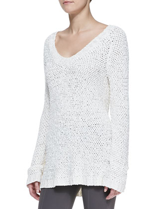 Silk Knit Long-Sleeve V-Neck Top