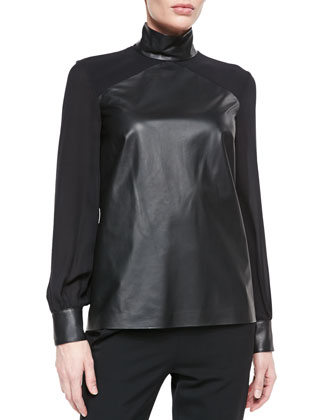 Long-Sleeve Silk and Leather Top