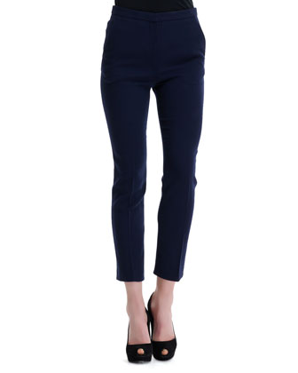 High-Waist Wool Ankle Pants