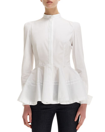 Pleated-Peplum Mandarin-Collar Blouse, Twisted Metal Belt & Side ...