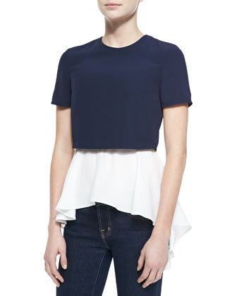 Layered Crop/Peplum Top, Blue/White