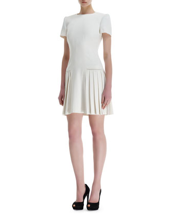 Leaf Crepe Side-Pleats Short-Sleeve Dress