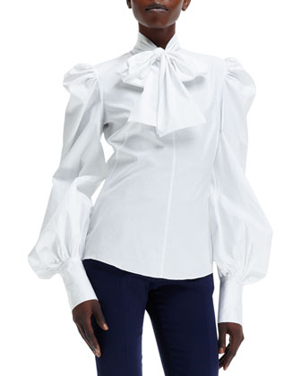 Tie-Neck Puffy-Sleeve Shirt