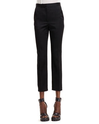 Silver Side-Striped Cropped Jeans, Black