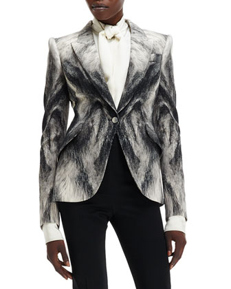 Crepe Fox Fur-Print One-Button Jacket
