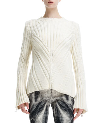 Chevron-Knit Zip-Sleeve Sweater