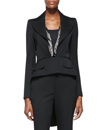 Embellished-Lapel High-Low Jacket