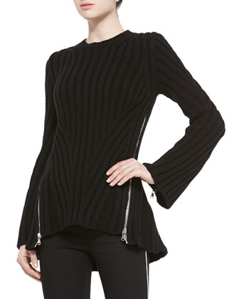 Cashmere-Blend Chevron-Knit Sweater, Black
