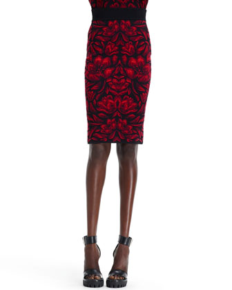 High-Waist Tulip Jacquard Skirt, Black/Red