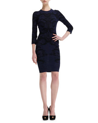 Spine Lace Jacquard 3/4-Sleeve Dress