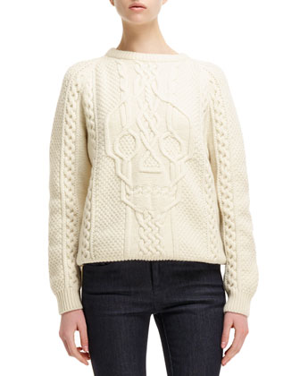 Cable-Knit Skull-Design Sweater & Side Contrast-Stripe Cropped Jeans