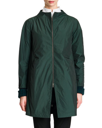 Zip-Front Collarless Tech Jacket