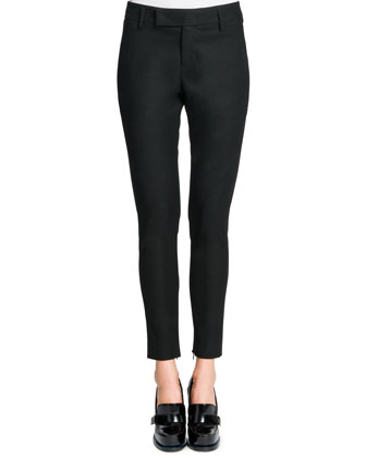 Tab-Front Zipper-Cuff Slim Pants