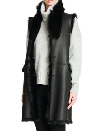 Reversible Shearling Fur/Leather Vest, Elbow-Patch Cashmere Turtleneck ...