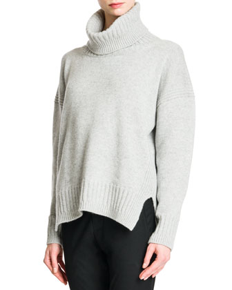 Elbow-Patch Cashmere Turtleneck Sweater