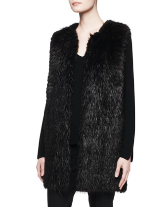 Lasfer Long Fur Vest and Lunette V-Neck Cashmere Top