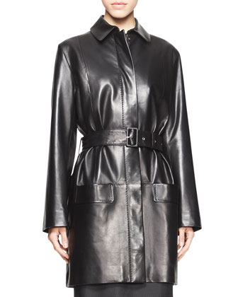 Parkan Belted Leather Coat and Strapless Geometric Jacquard Dress