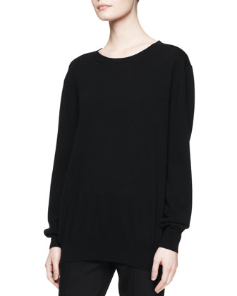 Rose Cashmere Sweater Top, Bark Melange