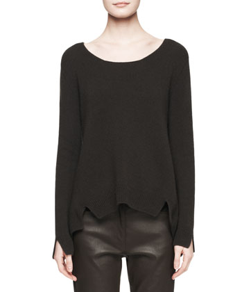 Camille Notched Cashmere Sweater