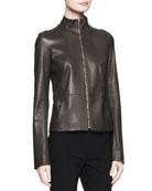 Linear Leather Zip Jacket