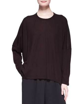 Wide Round-Neck Cashmere Top, Port