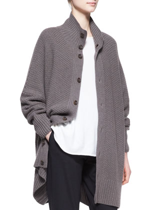 Wide Cashmere High-Neck Button Cardigan, Bison