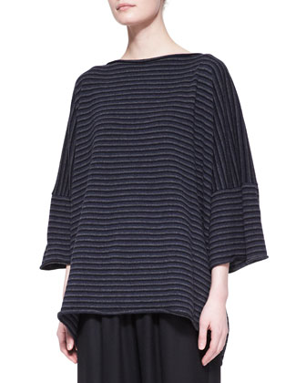 Square Short-Sleeve Cashmere Top, Navy