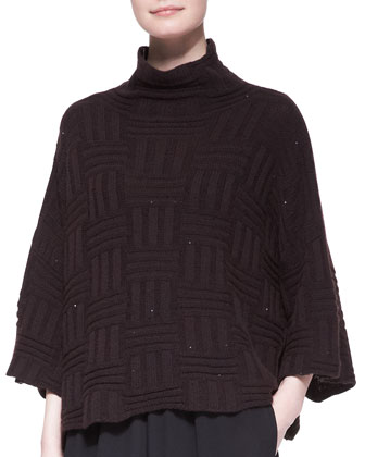 3/4-Sleeve High-Neck Sweater, Port