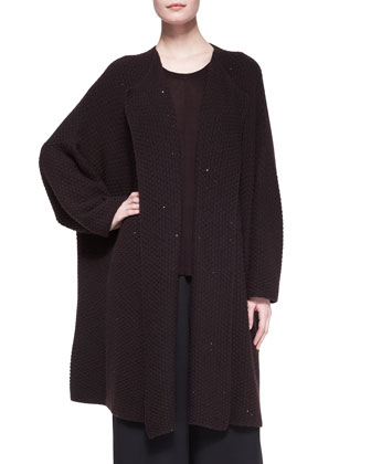 Long Jacket Coat Cardigan, Wide Round-Neck Top & Flared Trousers