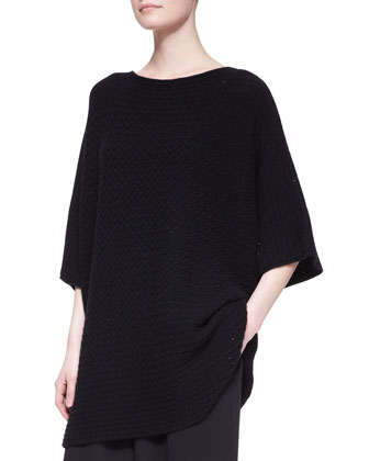 Long Square Short-Sleeve Top, Black