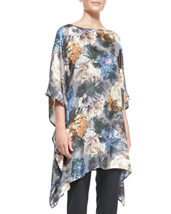 Long Bateau-Neck Caftan, Blue Mix