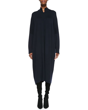 Slit High-Neck Dress & Fine Large Cashmere Scarf
