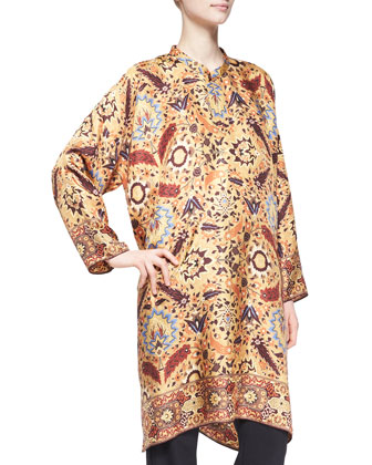 Collarless Printed Silk Tunic, Gold