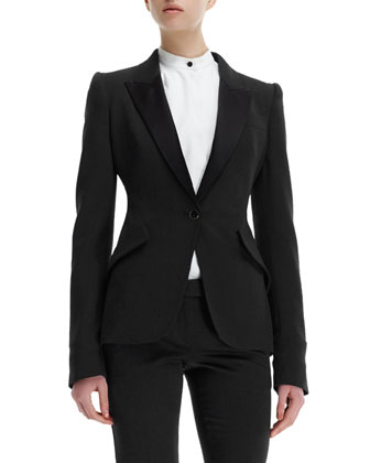 Contrast-Lapel Tuxedo Jacket, Poplin Blouse with Bib & Flare-Leg Tab Pants