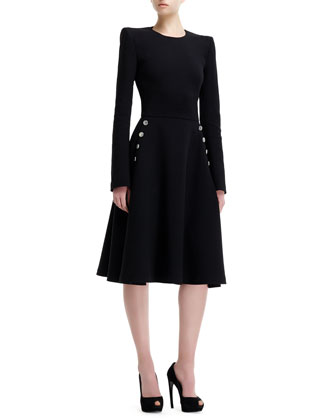 Knit Metal-Button Detail Long-Sleeve Dress