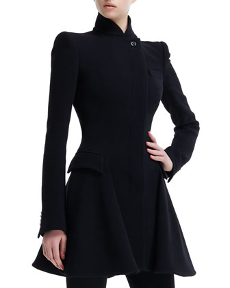 High-Collar Flared Coat