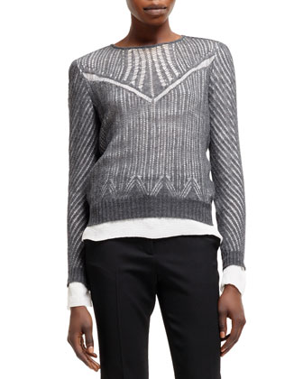 Spider-Lace Knit Long-Sleeve Top