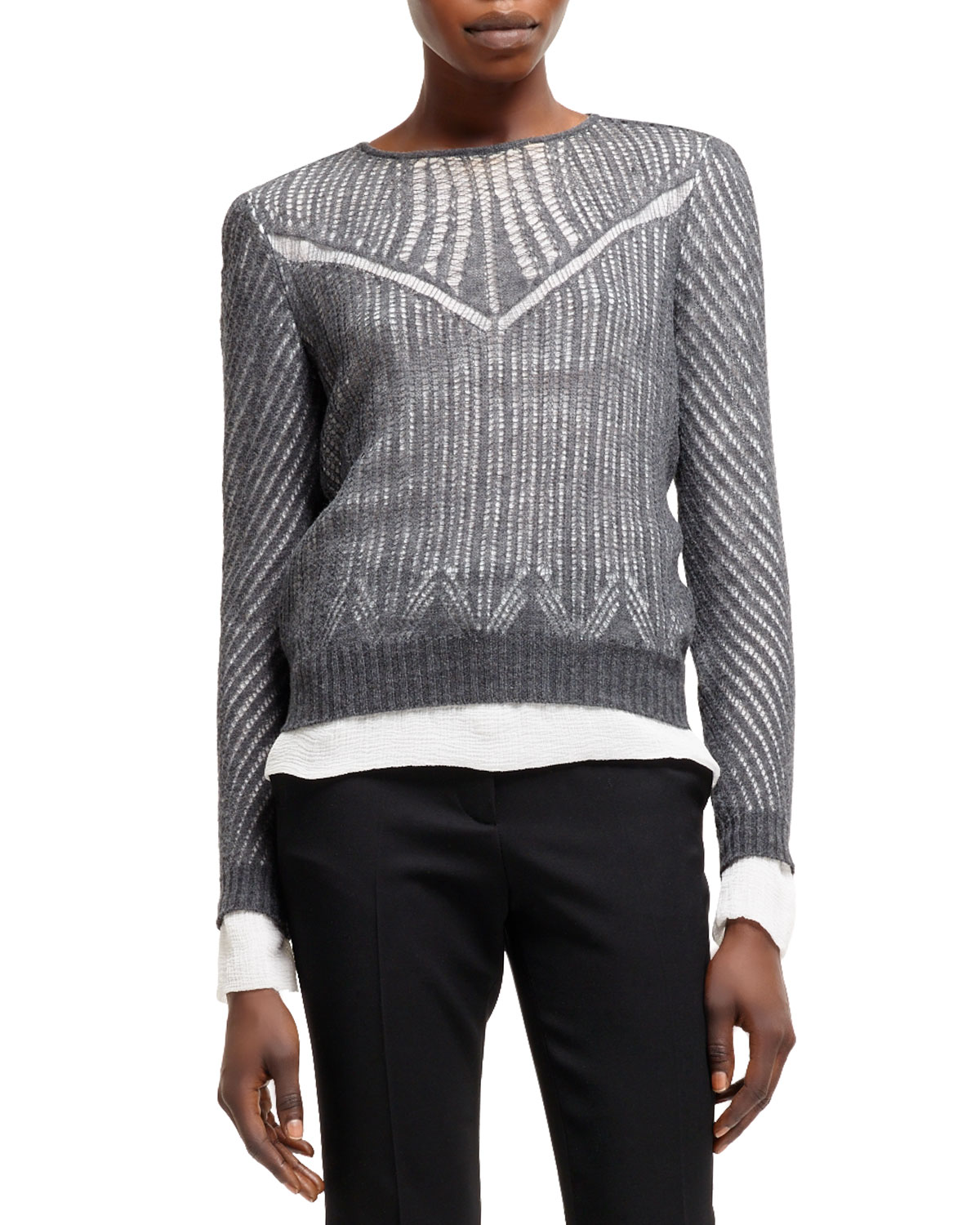 Womens Spider Lace Knit Long Sleeve Top   Alexander McQueen   Gray (LARGE)