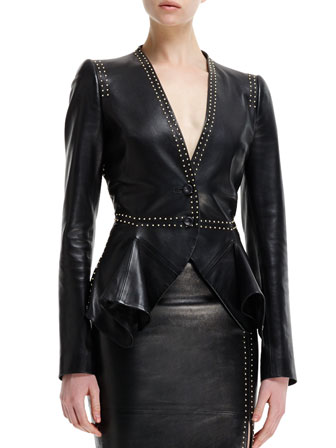Mini-Gold Stud-Detail Leather Peplum Jacket & High-Waist Leather Skirt