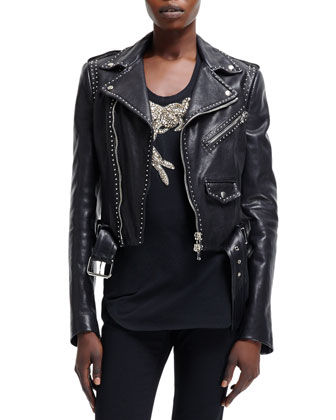 Cropped Stud-Trim Moto Jacket