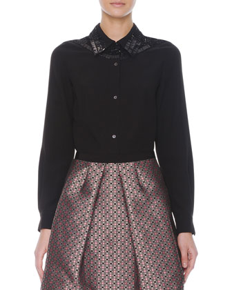 Embellished Button-Front Blouse and Jacquard Balloon Skirt