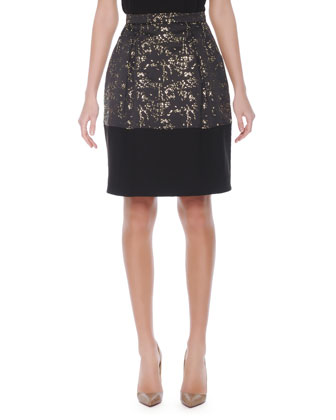 Fuzzy-Trim Knit Sweater Top & Abstract-Print Gold-Accent Balloon Skirt