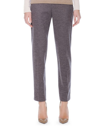 Heathered Slim-Leg Ankle Pants