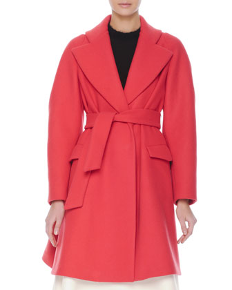 Flap-Pocket Robe Coat, Fuzzy-Trim Knit Sweater Top & Crepe Inverted-Pleat ...