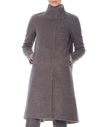 Zip-Front Flounce-Back Long Coat