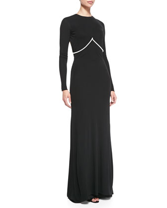 Long-Sleeve Pearl-Strung Open-Back Gown, Black