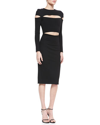 Dondi-Jersey Slit-Sleeve Cutout Dress